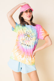 Daisy Street X Mocean Oversized Tie Dye T-Shirt with Pick Me Print
