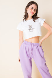 Daisy Street X Mocean Ultra Cropped T-Shirt with Cutie Bear Print