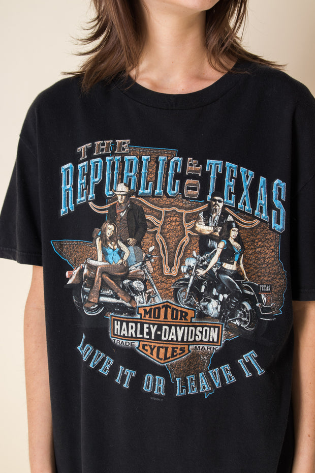 Daisy Street Vintage T-Shirt with Harley Davidson Texas Front and Back Print