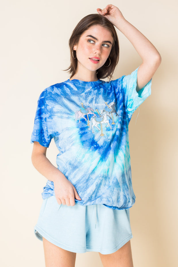 Daisy Street X Mocean Oversized Tie Dye T-Shirt with Carousel Print