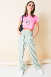 Daisy Street X Mocean Ultra Cropped T-Shirt with Pink Cutie Bear Print