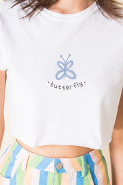 Daisy Street X Mocean Ultra Cropped T-Shirt with Butterfly Print