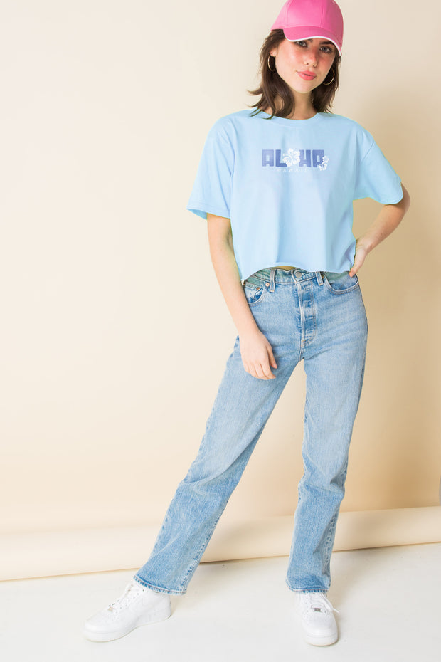 Daisy Street X Mocean Oversized Cropped T-Shirt with Aloha Print