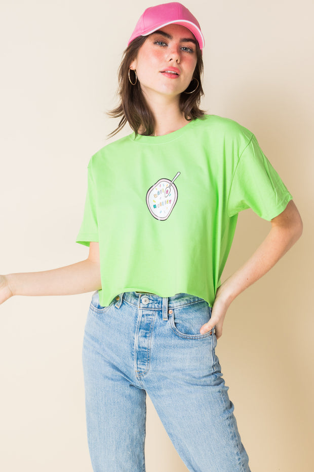 Daisy Street X Mocean Oversized Cropped T-Shirt with Have a Nice Day Print