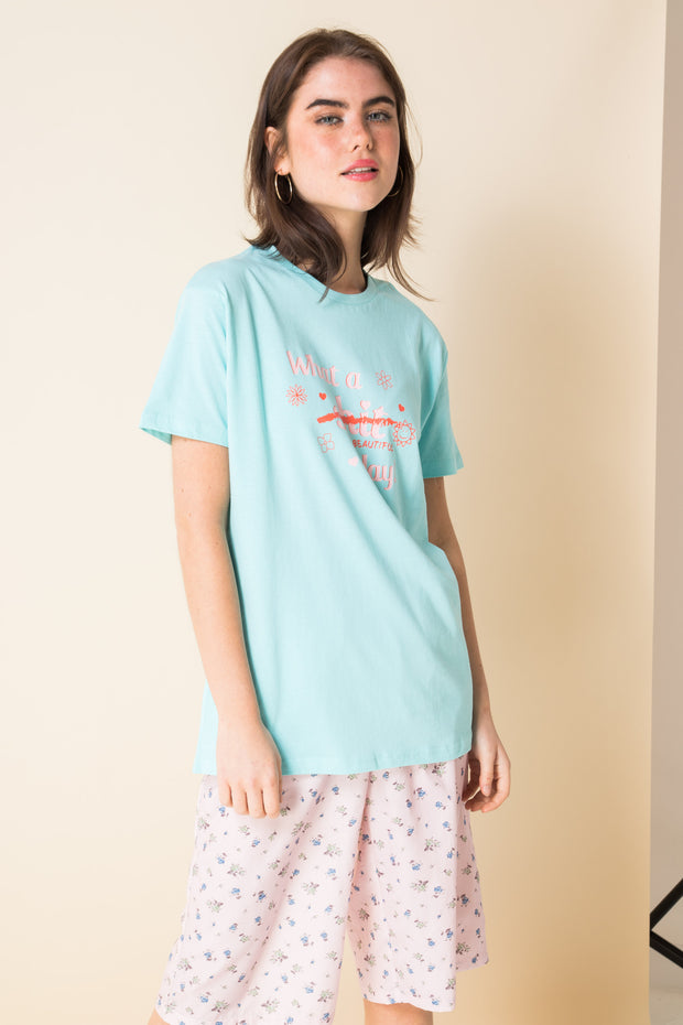 Daisy Street X Mocean Oversized T-Shirt with Beautiful Day Print
