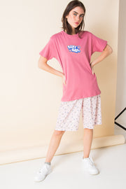 Daisy Street X Mocean Oversized T-Shirt with Baby Girl Print