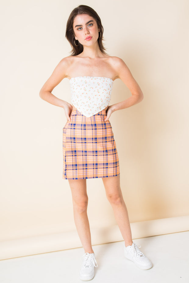 Daisy Street Mini Skirt in Check