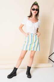 Daisy Street Denim Mini Skirt in Pastel Rainbow Stripe