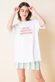 Daisy Street Relaxed T-Shirt with Girls Support Girls Print