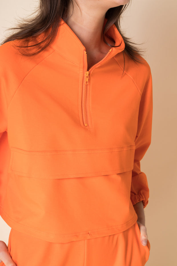 Daisy Street Cropped Loungewear Tracksuit in Orange