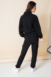 Daisy Street Cropped Loungewear Tracksuit in Black