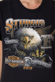 Daisy Street Vintage T-Shirt with Harley Davidson Sturgis Front and Back Print