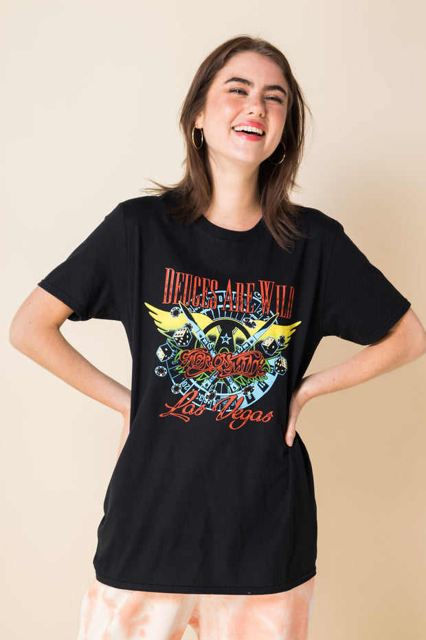 Daisy Street Relaxed T-Shirt with Aerosmith Print