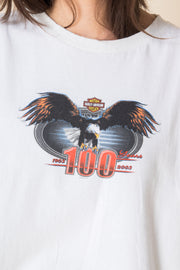 Daisy Street Vintage T-Shirt with Harley Davidson 100 Years Print