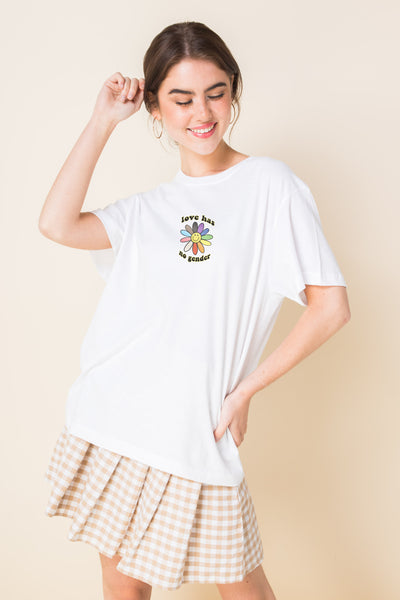 Daisy Street Relaxed T-Shirt With Pride Flower Print