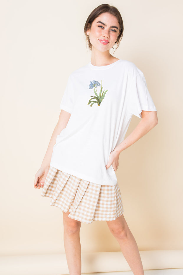 Daisy Street Relaxed T-Shirt with Blue Flower Print