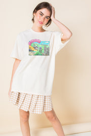 Daisy Street Relaxed T-Shirt with Hollywood Print