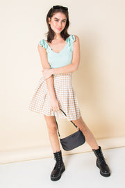 Daisy Street Mini Pleated Skirt in Vintage Check