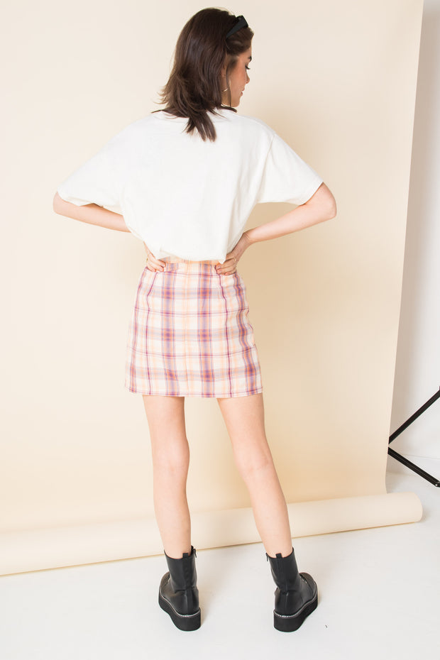 Daisy Street Mini Skirt in Orange and Pink Check