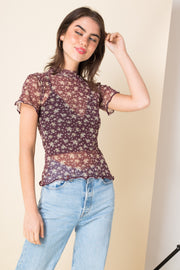 Daisy Street Mesh Top in Ditsy Floral Print