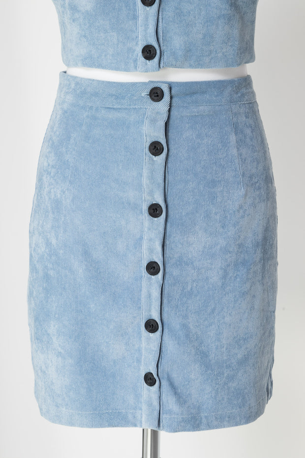 Daisy Street Button Up Mini Skirt in Cord