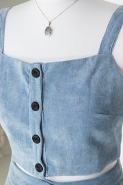 Daisy Street Button Up Crop Top in Cord