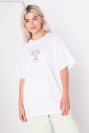 Daisy Street Relaxed T-Shirt with Libra Print