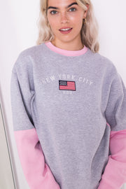 Daisy Street Oversized Sweatshirt with new york embroidery in colour block