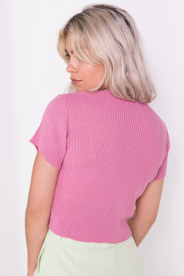 Daisy Street 90's Cropped Cardigan in Dusky Pink
