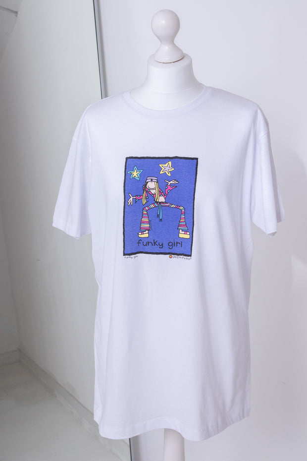 Daisy Street X Groovy Chick Relaxed White T-Shirt with Funky Girl Print