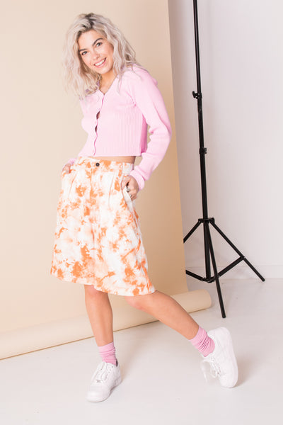 Daisy Street 90's Cropped Cardigan in Pink