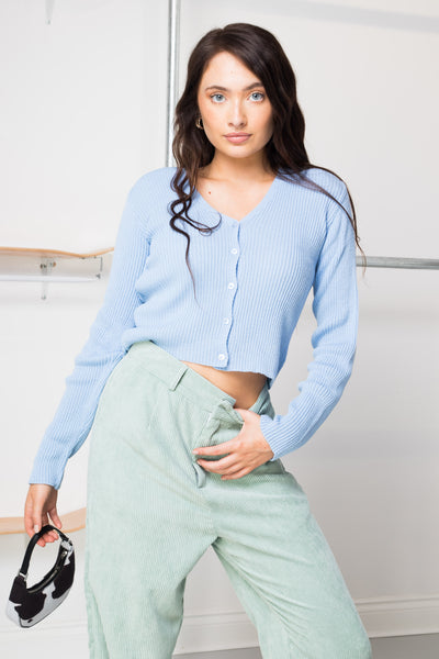 Daisy Street 90's Cropped Cardigan in Bluebell