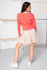 Daisy Street 90's Cropped Cardigan in Coral