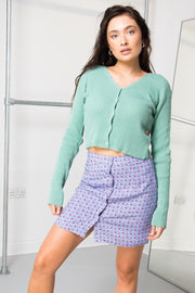 Daisy Street 90's Cropped Cardigan in Teal Green