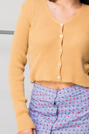 Daisy Street 90's Cropped Cardigan in Camel