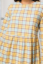 Daisy Street Vintage Mini Smock Dress in Yellow and Blue Check Print