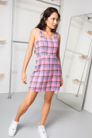 Daisy Street Pinafore Mini Dress in Pink and Purple Check