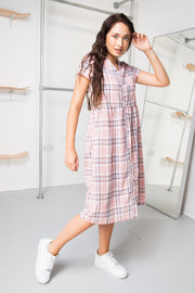 Daisy Street Pink Check Smock Midi Dress