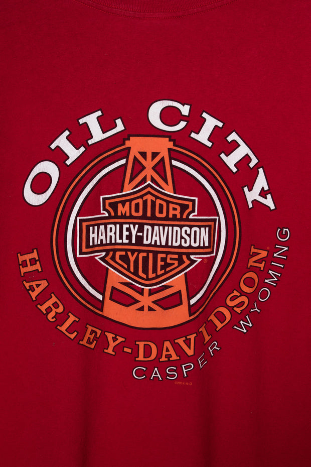 Daisy Street Vintage Harley Davidson T-Shirt with Oil City Front and Back Print
