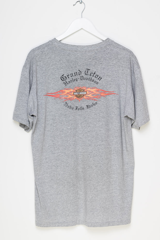 Daisy Street Vintage T-Shirt with Harley Davidson Flame Print