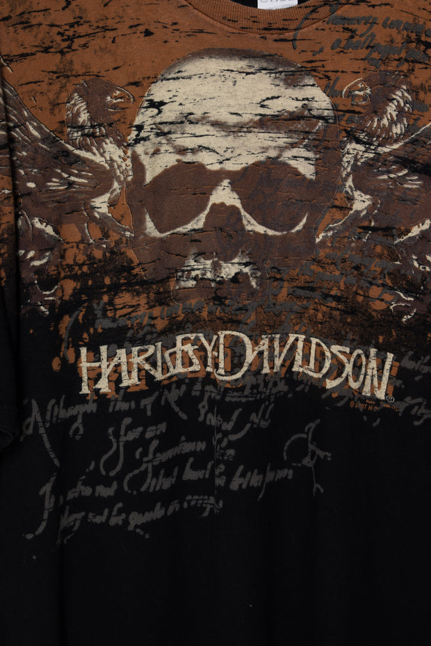 Daisy Street Vintage Harley Davidson T-Shirt with Flame Front and Back Print