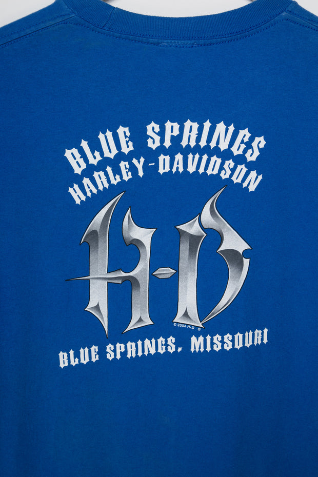 Daisy Street Vintage Harley Davidson T-Shirt with Blue Springs Print