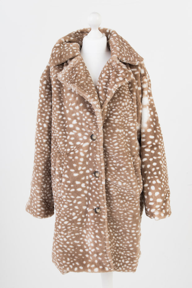 Daisy Street Speckled Faux Fur Coat