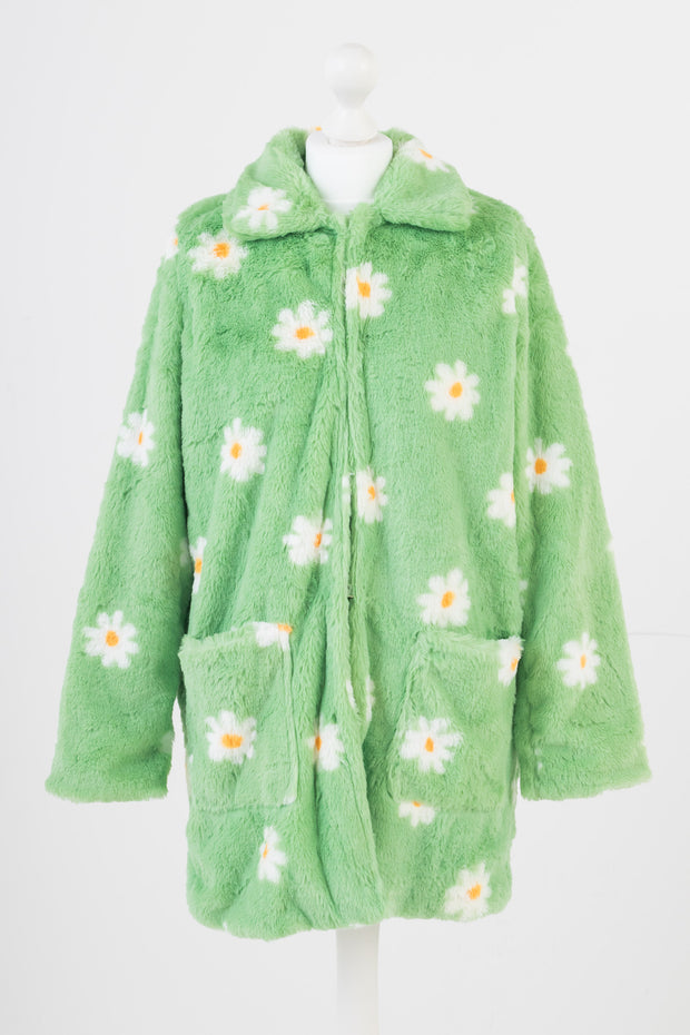 Daisy Street Flower Print Faux Fur Coat in Green