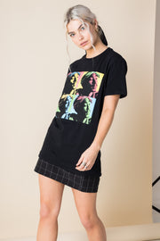 Daisy Street Relaxed T-Shirt with Tupac Print