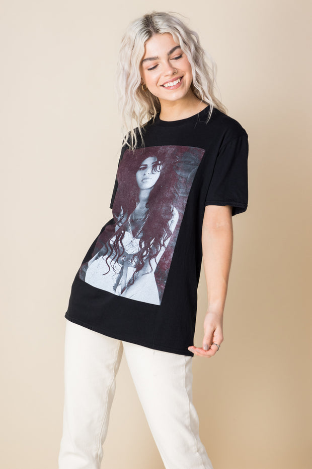 Daisy Street Relaxed T-Shirt with Amy Winehouse Print