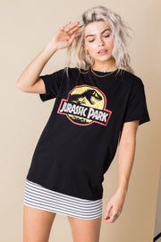 Daisy Street Relaxed T-Shirt with Jurassic Park Print