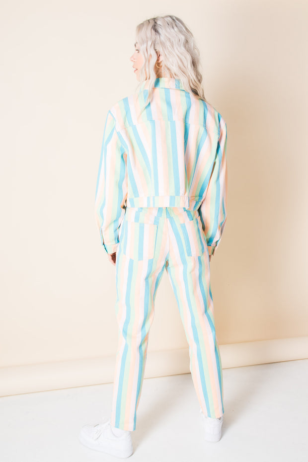 Daisy Street Denim Jacket in Pastel Rainbow Stripe