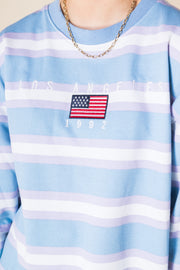 Daisy Street Oversized Sweatshirt with Los Angeles Embroidery in Retro Stripe
