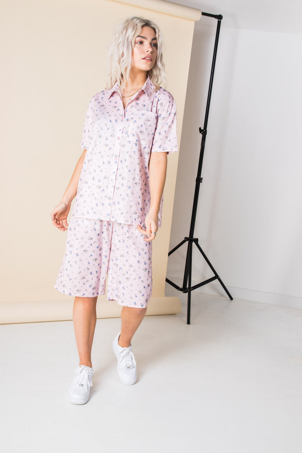 Daisy Street Oversized Shirt in Pink Ditsy Floral
